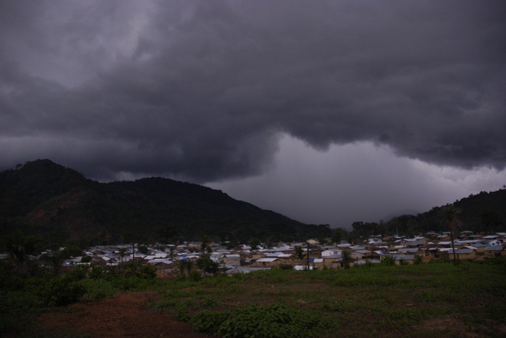 Viewing the village from our back yard as a storm comes in through the valley