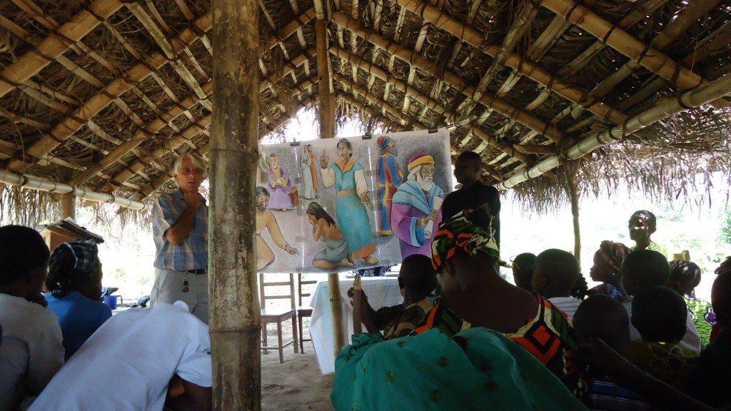 John 8 being preached in a bush church